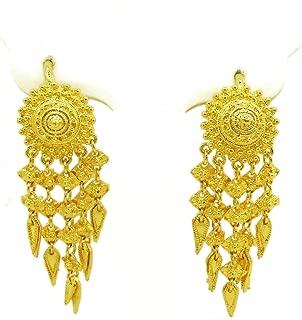Dangle Earrings 23k 24k Thai Baht Yellow Gold Plated Filled Earrings Design From Thailand, Thai Dress, The Wedding, Women Jewelry