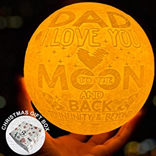 Dad I Love You to the Moon and Back Moon Lamp Personalized Night Lights Xmas Birthday Wedding Sentimental Presents for Bonus Daddy Step Father in Law Stepdad from Daughter Son Bride Groom