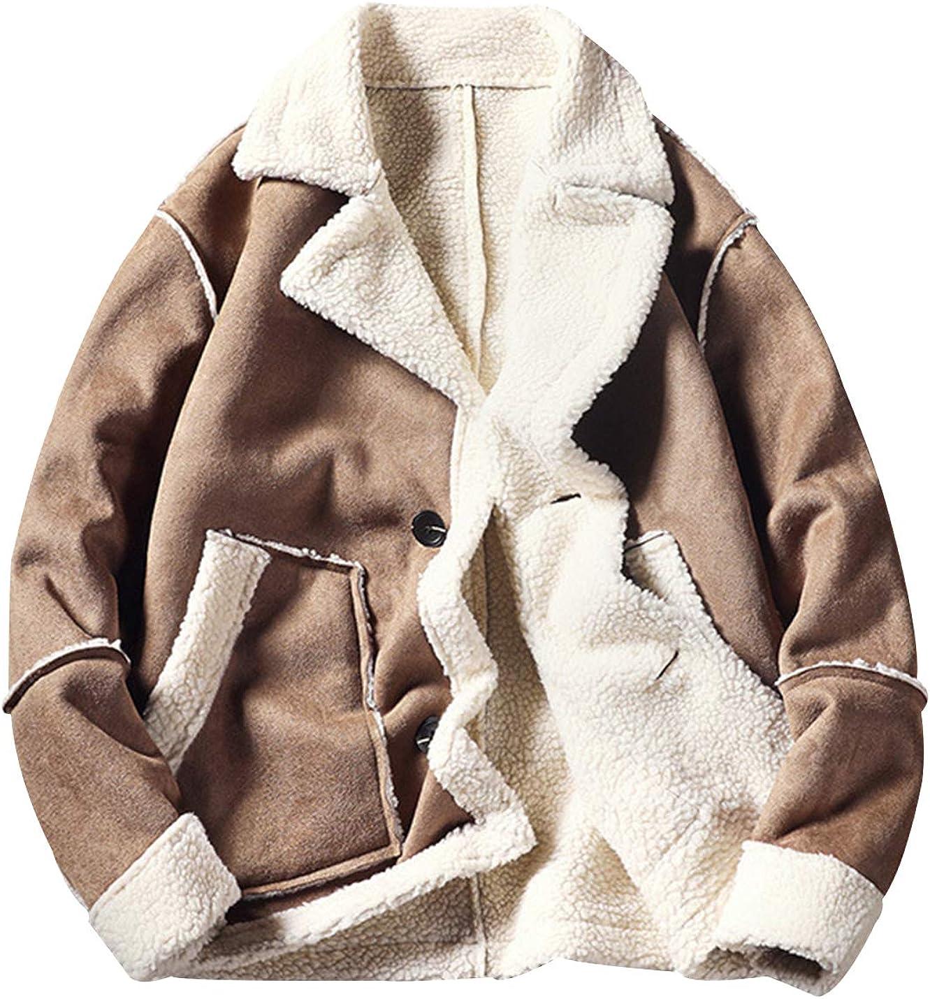 Yimoon Men's Faux Suede Shearling Coats Sherpa Lined Jackets