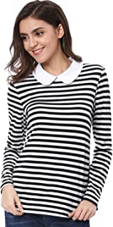 Women's Long Sleeves Peter Pan Contrast Striped Blouse Top