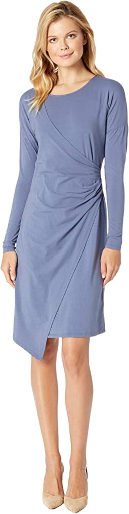 Cotton Modal Spandex Jersey Drop Shoulder Faux Wrap Dress
