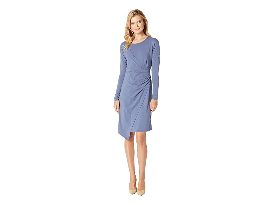 Mod-o-doc Cotton Modal Spandex Jersey Drop Shoulder Faux Wrap Dress (Blueprint) Women