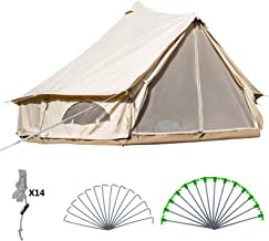 Happybuy Bell Tent 10-12 Persons Canvas Tent 4-Season Yurt Tents for Camping Waterproof for Family Camping Outdoor Hunting(9.84ft /13.1ft / 16.4ft / 19.7ft)