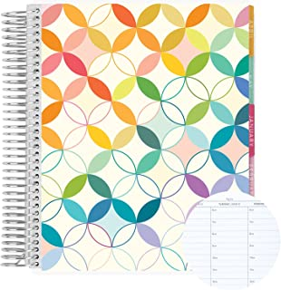 """$61 » 7"""" x 9"""" 12 Month Spiral Bound Hourly Life Planner ( Jan 2022 - Dec 2022 ) - Mid Century Circles w/ Just My Type Colorful P..."""