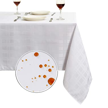 Obstal 210GSM Rectangle Table Cloth, Water Resistance Microfiber Tablecloth, Decorative Fabric Plaid Checkered Table Cover for Outdoor and Indoor Use (White, 60 x 102 inch)