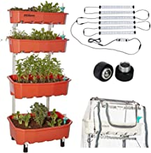 Altifarm Combo Home Farm: Vertical Raised Bed Elevated Garden Self-Watering Planter Kit (4 Tier, Peach) Plus Expansion Packs : Altifarm Grow System + LED Grow Lights + Greenhouse Cover + Wheel Kit