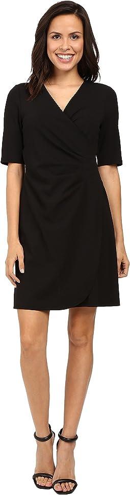V-Neck Side Rouched Wrap Dress