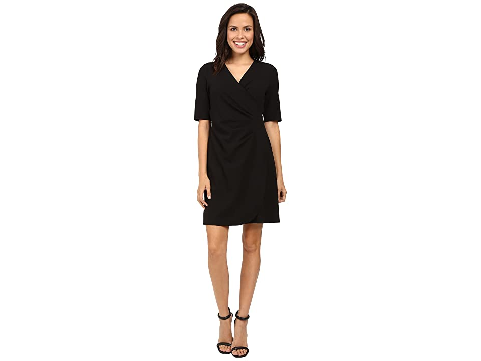 Adrianna Papell V-Neck Side Rouched Wrap Dress (Black) Women