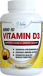 Vitamin D3 5000 IU Softgels - Enhanced Absorption Natural Vitamin D Supplements in Organic Olive Oil High Potency VIT D3 C...