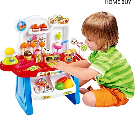 HOME BUY Supermarket Shop 34 Pcs with Sound Effects, Multi Color