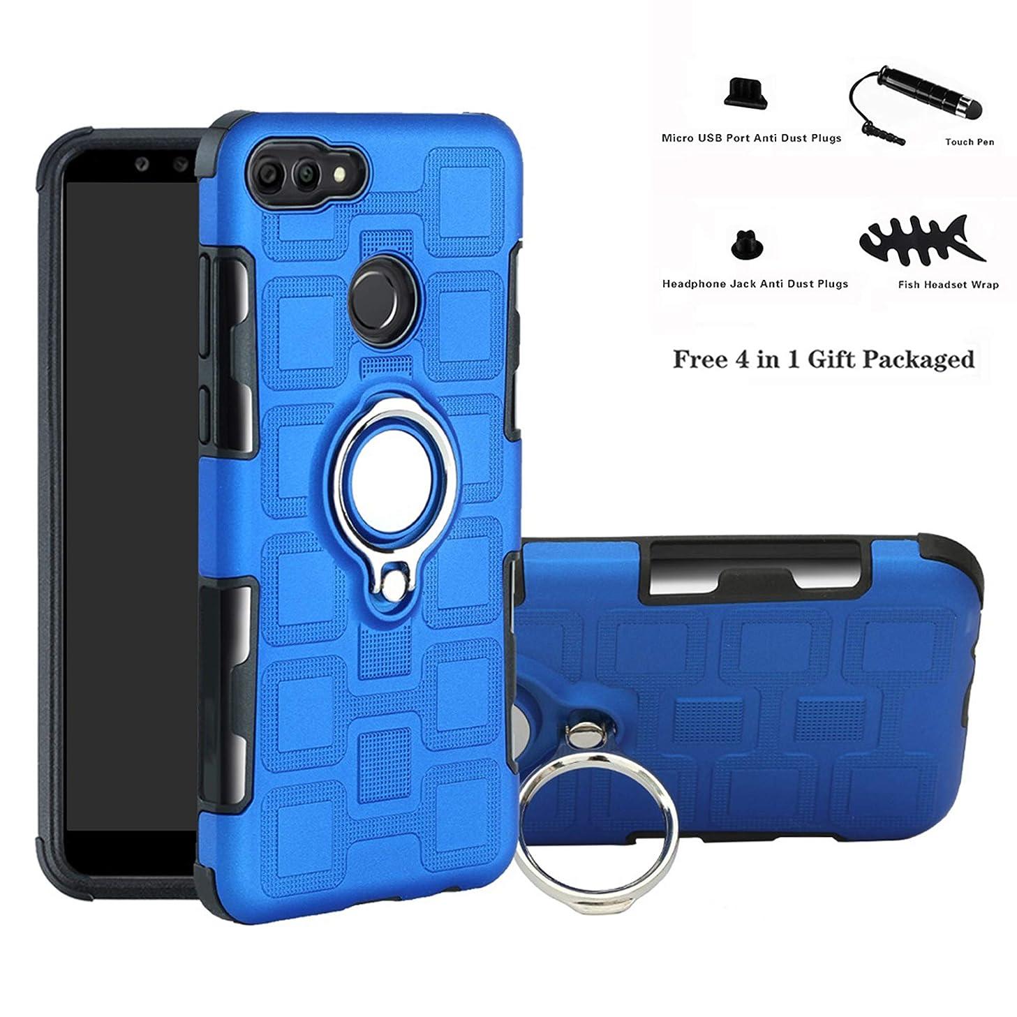 Huawei Y9 / Enjoy 8 Plus case,Labanema Hybrid Dual Layer 360 Degree Rotation Ring Holder Kickstand Armor Slim Protective Cover for Huawei Y9 2018 / Enjoy 8 Plus - Blue