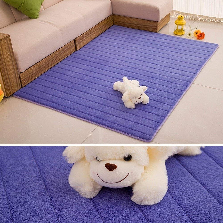 Padded European-Style Memory Foam Carpet Living Room Coffee Table Pad Carpet Bay Window Carpet (color   bluee, Size   80x160cm)