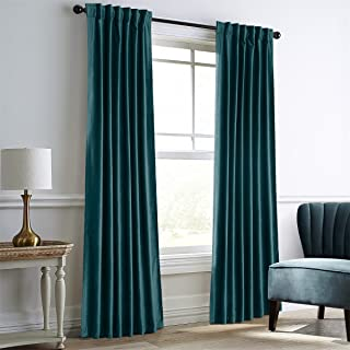 Dreaming Casa Teal Green Velvet Curtains for Living Room,Thermal Insulated Rod Pocket/Back Tab Window Curtain for Bedroom(2 Top Construction Combination,84