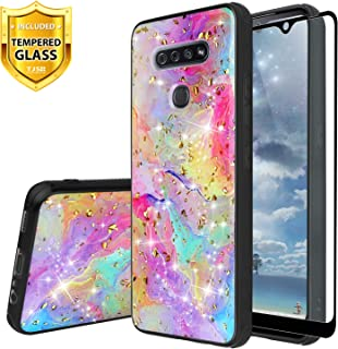 TJS Phone Case Compatible for LG K51, LG Q51, LG Reflect, with [Full Coverage Tempered Glass Screen Protector] Shiny Chrome Flake Glitter Back Skin Full Body Soft TPU Rubber Bumper Protector (Rainbow)