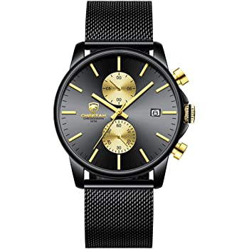 GOLDEN HOUR Men's Watches Fashion Sport Quartz Analog Black Mesh Stainless Steel Waterproof Chronograph Wrist Watch, Auto Date in Blue/Red/Gold Hands