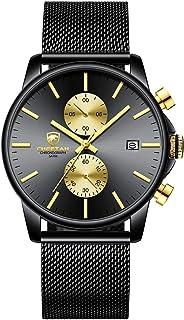 Men's Watches Fashion Sport Quartz Analog Black Mesh Stainless Steel Waterproof Chronograph Wrist...