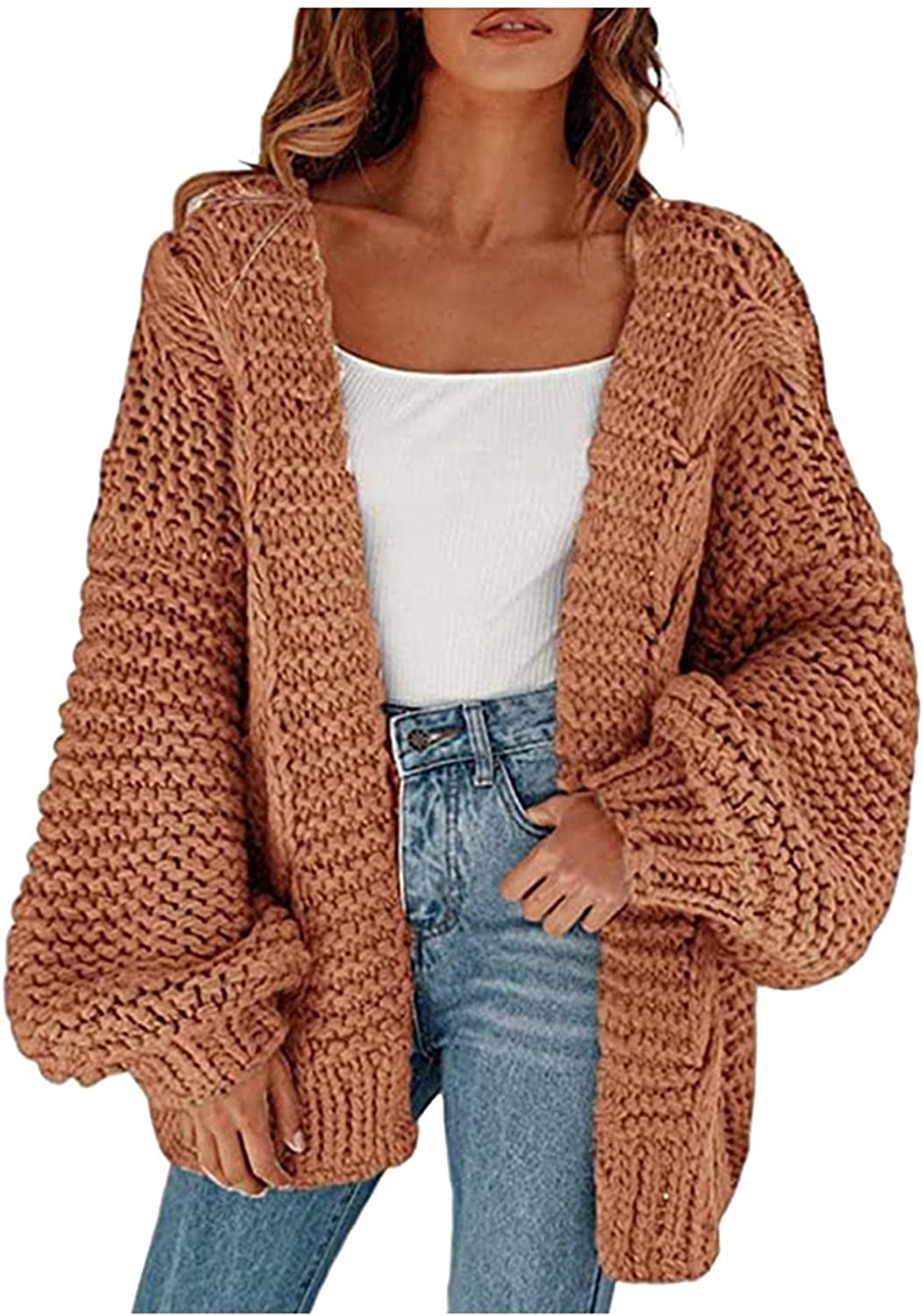 FGDJEE Sweaters Cardigan for Women Oversized Solid Color Thick Needle Winter Soft Warm Loose Sweater Coat