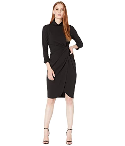 Tahari by ASL Stretch Crepe Mock Neck Dress with Side Wrap and Cinched Sleeve Detail