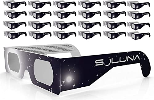 wholesale Solar 2021 Eclipse Glasses - CE and ISO Certified Safe Shades for Direct Sun Viewing - Made in the USA (25 outlet sale Pack) by Soluna online