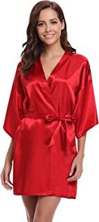 Women's Kimono Robes Satin Pure Colour Short Style with Oblique V-Neck Robe