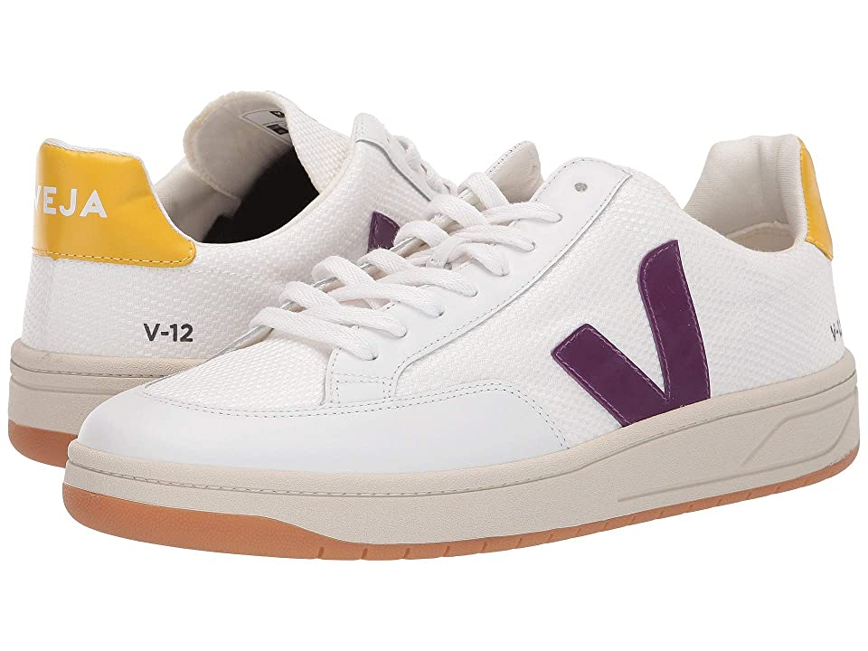 VEJA V-12 (White/Berry/Gold Yellow B-Mesh) Athletic Shoes