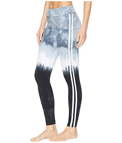 Hard Tail Flat Waist Racing Stripe Ankle Leggings (Crystal Dip-Dye 1) Women