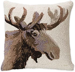 Plow & Hearth Hand-Hooked Wool Pillow Moose - 16 L x 15.5 W x 6 H
