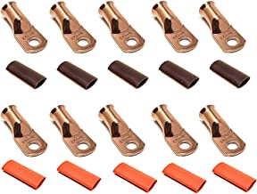 """10pcs 1/0 Gauge 1/0 AWG x 5/16"""" Pure Copper UL Listed Cable Lug Terminal Ring Connectors with Dual Wall Adhesive Lined Red + Black Heat Shrink Tubing – by WNI"""