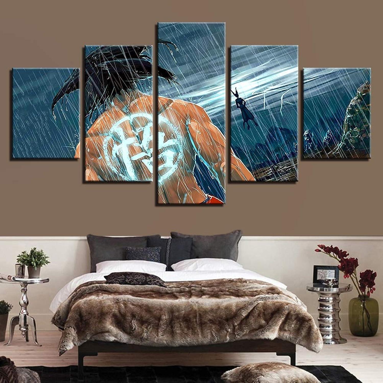 Home Decor Modular Canvas Picture 5 Pieces Cartoon Dragon Ball Z Paintings Living Room Super Saiyan Poster