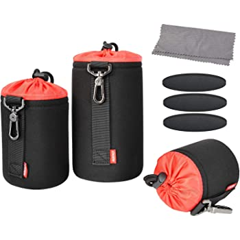 Techlilfe Caden Scratch Proof Waterproof Durable Protective Neoprene Camera Lens Bag Pouch (Set of 3)