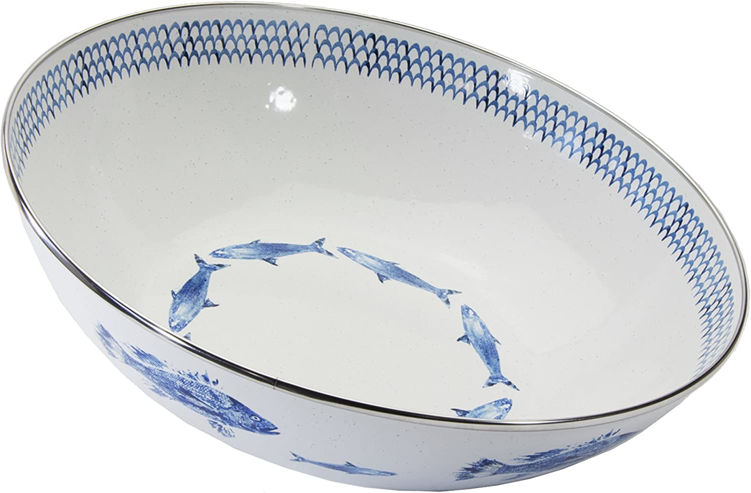 Enamelware - Fish Camp Pattern - 14 Inch Catering Bowl