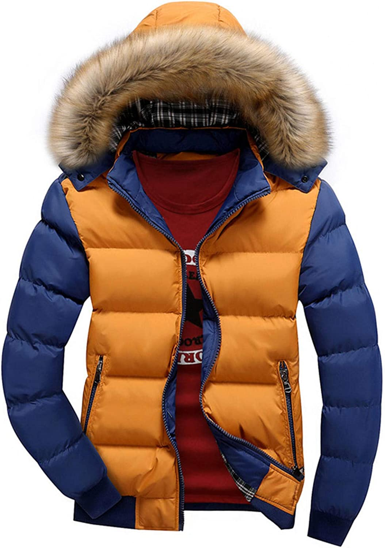 Men's Winter Warm Faux Leather Spliced Padded Long Down Alternative Parka Coat Fur Hood (Brown,4X-Large)