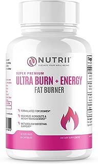 Ultra Burn + Energy Thermogenic Weight Loss + Energy Booster, Appetite Suppressant, Keto Friendly, Green Tea, CLA, Garcinia, Raspberry Ketones, Boost Metabolism and Burn Belly Fat (60 Veggie Caps)