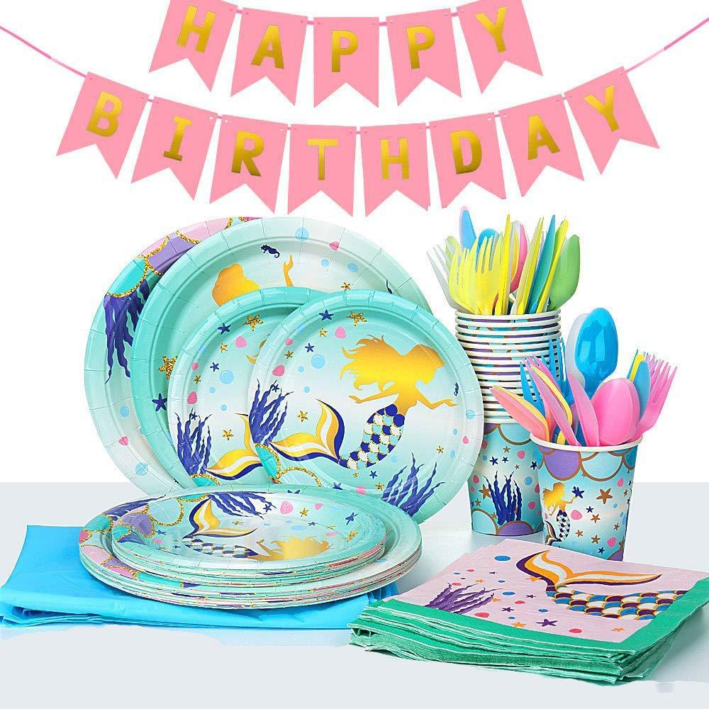 Mermaid Party Vajilla, 118 Piezas Kit de Vajilla Mermaid Party, Juego de Vajilla Magical Mermaid Party Para Fiesta de Cumpleaños, Bodas, Aniversarios (16 Invitados): Amazon.es: Hogar
