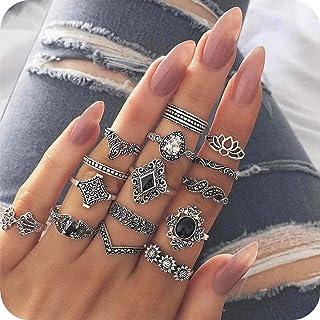 Evazen Boho Crystal Midi Finger Rings Set Love Heart Geometric Gold Coin Teardrop Knuckle Stacking Rings Delicate Fashion ...
