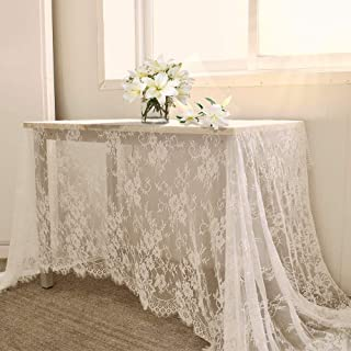 B-COOL 60 X120 Inch Classic White Wedding Lace Tablecloth Lace Tablecloth Overlay Vintage Embroidered Lace Overlay for Rus...