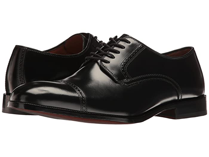 Johnston and Murphy  Bradford Dress Cap Toe Oxford (Black Brush-Off) Mens Lace Up Cap Toe Shoes