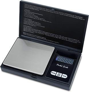 Intirilife Báscula Digital de Bolsillo 200 g en Negro - Báscula electrónica de precisión con función de Tara y Pantalla LCD - Báscula de pesaje para Monedas, Joyas, Oro, Cocina