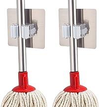Adtala Self Adhesive Mop Holder, Irich Wall Mount Storage Organizer Racks, No Drilling Tools Hook for Kitchen Bathroom Rakes Closet Home Garden Garage (9 x 9 cm, Multicolour) -2 Pieces