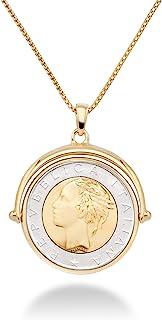 Miabella 18K Gold Over Sterling Silver Italian Genuine 500-Lira Reversible Flip Coin Pendant Necklace for Women,18, 20 Inc...