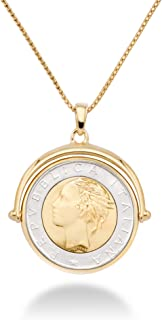 Miabella 18K Gold Over Sterling Silver Italian Genuine 500-Lira Reversible Flip Coin Pendant Necklace for Women,18, 20 Inch Chain 925 Medallion Necklace Made in Italy