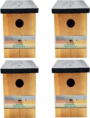 4 x Handy Home and Garden Nichoir en Bois Traité à la Pression Boîte de Nidification Maison d'Oiseau Sauvage HHGBF017