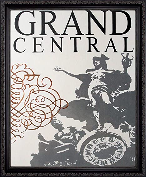 Big Apple Station Grand Central Station In New York City By Marco Fabiano Framed Art Print Poster Custom Made Real Wood Dark Mahogany With Black Trim Frame 18 1 8 X 22