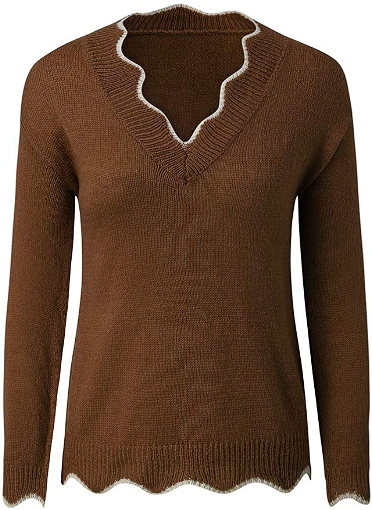 FABIURT Women's Loose Casual V Neck Long Sleeve Oversized Chunky Knitted Pullover Sweater Jumper Blouse Tops