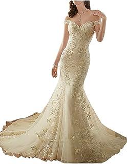b8134614a8 HelloLadyBridal Womens Lace Mermaid Wedding Dresses for Bride 2019 Illusion  Back Bridal Gowns