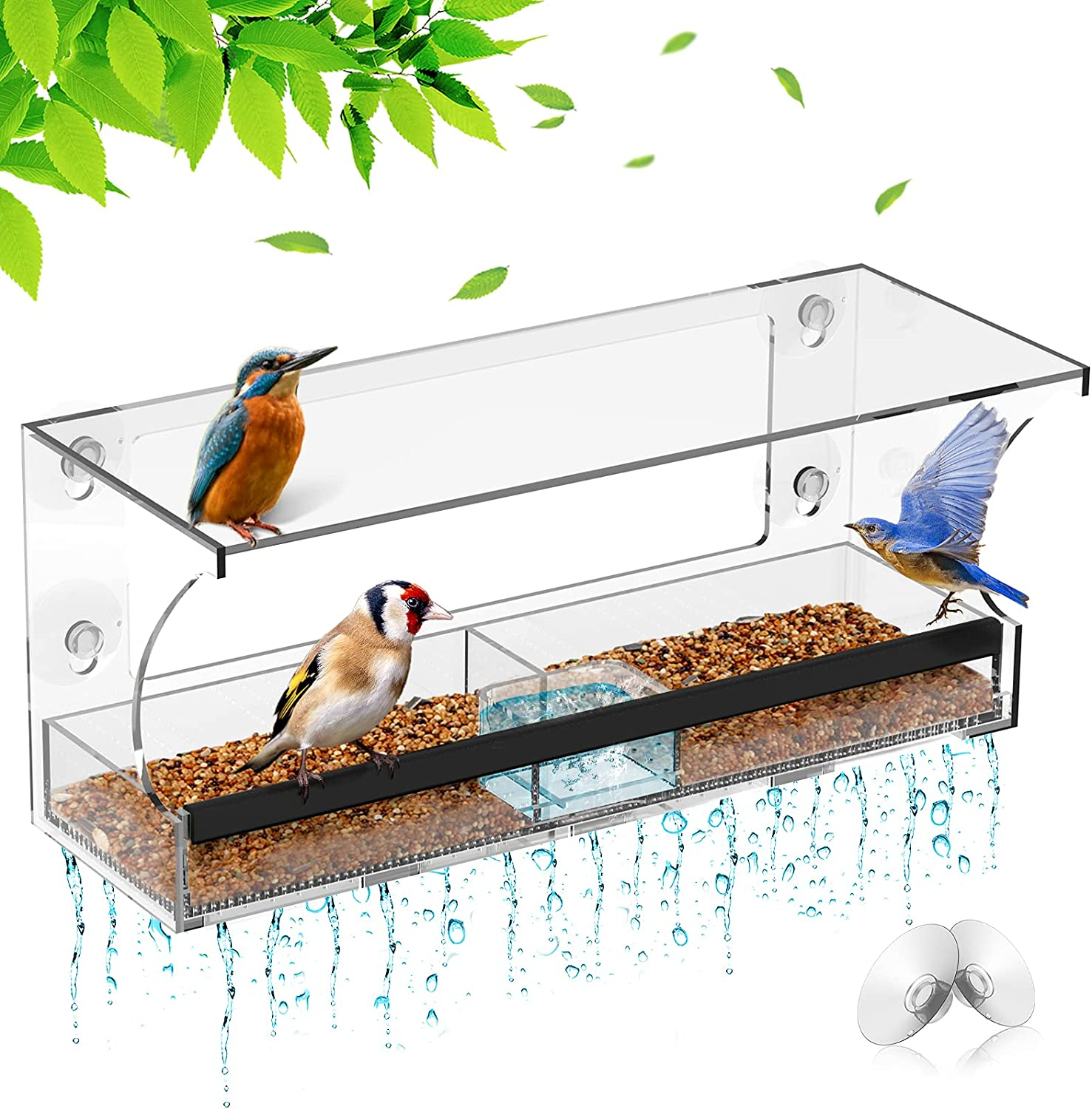 NPET Ultra-Cheap Deals Bird Feeders excellence Window Feeder St Sliding Seed Tray with
