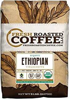 Organic Ethiopian Yirgacheffe Fair Trade Coffee, Whole Bean Bag, Fresh Roasted Coffee LLC. (5 LB.)