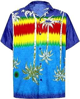 Realdo Mens Summer Tropical Coconut Tree Hawaiian Style Short-Sleeved Loose Print Shirts