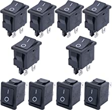 TWTADE / 10Pcs Black ON/OFF DPST 4 Pin 2 Position Mini Boat Rocker Switch Car Auto Boat Rocker Toggle Switch Snap AC 250V/10A 125V/12A (Quality Assurance for 1 Years)XW-601BB1