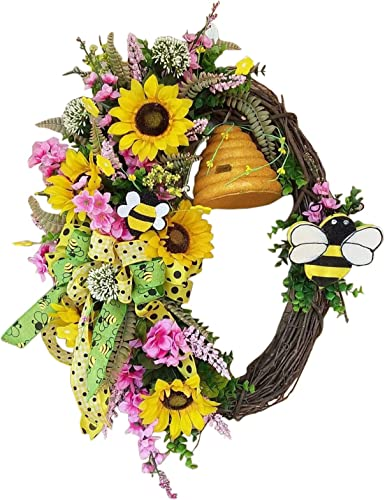 2021 Spring Summer popular Artificial Sunflower Wreath for Front Door Yellow Decorative Floral Door Wreath with Green Leaves and Ribbon for Wall or outlet online sale Home Decor Holiday Decoration Ornament 16 Inch sale